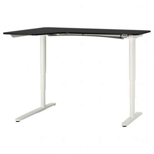 BEKANT БЕКАНТ, Углов письм стол лев/трансф, ясеневый шпон/черная морилка/белый, 160x110 см - 792.822.90