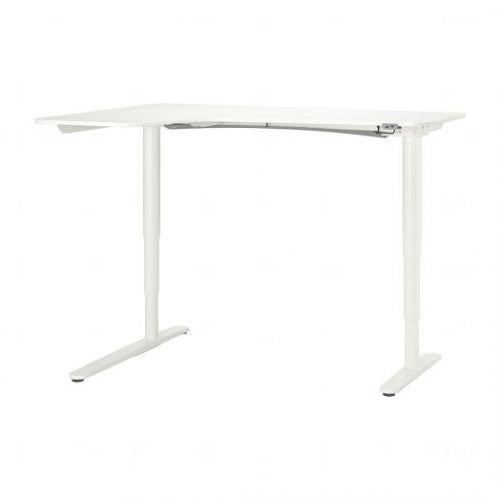 BEKANT БЕКАНТ, Углов письм стол лев/трансф, белый, 160x110 см - 392.786.62