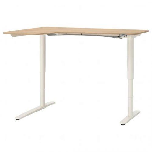 BEKANT БЕКАНТ, Углов письм стол лев/трансф, дубовый шпон, беленый/белый, 160x110 см - 092.823.02