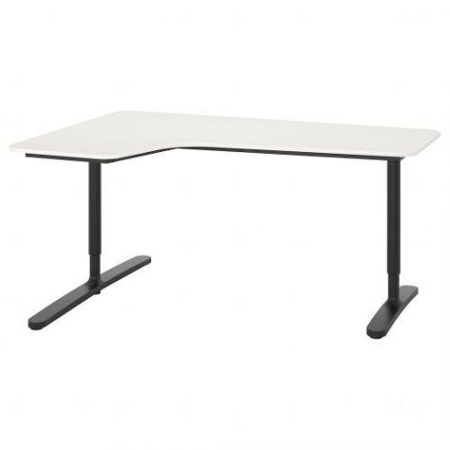BEKANT БЕКАНТ, Углов письм стол левый, белый/черный, 160x110 см - 692.784.44