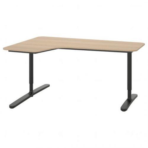BEKANT БЕКАНТ, Углов письм стол левый, дубовый шпон, беленый/черный, 160x110 см - 092.828.06