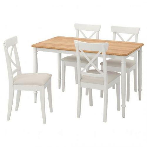 DANDERYD ДАНДЭРЮД / INGOLF ИНГОЛЬФ, Стол и 4 стула, белый/Халларп бежевый, 130x80 см - 293.887.36