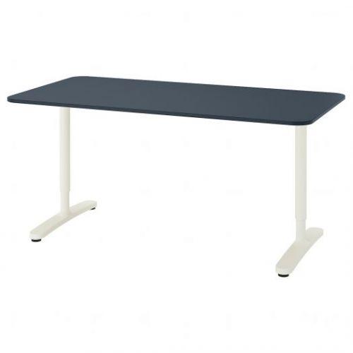 BEKANT БЕКАНТ, Письменный стол, линолеум синий/белый, 160x80 см - 392.827.63
