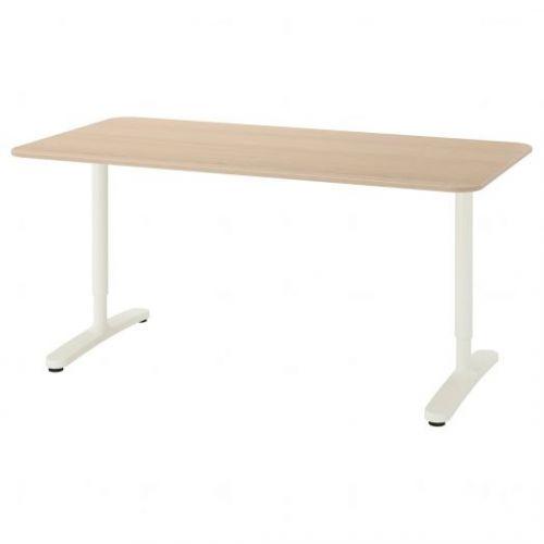 BEKANT БЕКАНТ, Письменный стол, дубовый шпон, беленый/белый, 160x80 см - 992.826.80