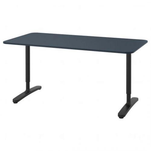 BEKANT БЕКАНТ, Письменный стол, линолеум синий/черный, 160x80 см - 092.827.69