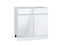 Шкаф нижний с 2-мя дверцами и 2-мя ящиками Фьюжн Н801 в цвете Angel
