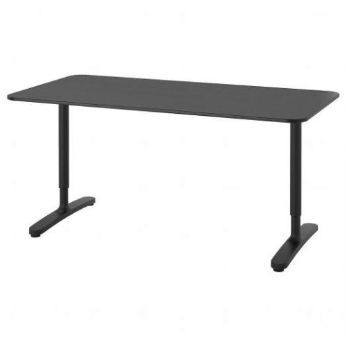 BEKANT БЕКАНТ, Письменный стол, ясеневый шпон/черная морилка/черный, 160x80 см - 292.825.94