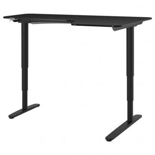 BEKANT БЕКАНТ, Углов письм стол прав/трансф, ясеневый шпон/черная морилка черный, 160x110 см - 592.823.90