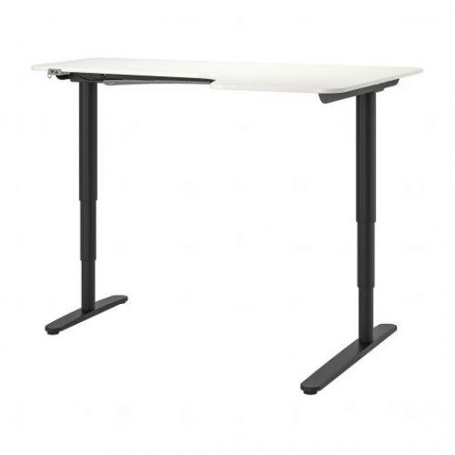 BEKANT БЕКАНТ, Углов письм стол прав/трансф, белый/черный, 160x110 см - 192.786.58