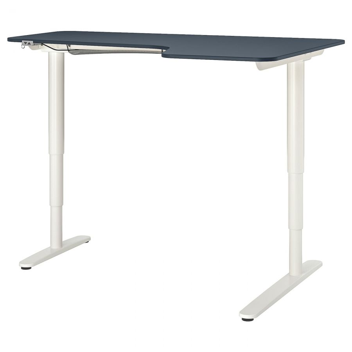 BEKANT БЕКАНТ, Углов письм стол прав/трансф, линолеум синий/белый, 160x110 см - 892.823.55