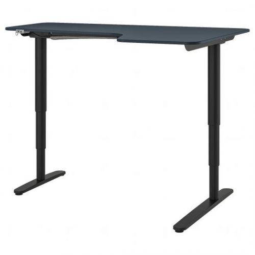 BEKANT БЕКАНТ, Углов письм стол прав/трансф, линолеум синий/черный, 160x110 см - 392.823.67