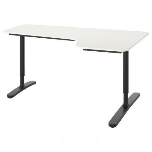 BEKANT БЕКАНТ, Углов письм стол правый, белый/черный, 160x110 см - 592.784.49