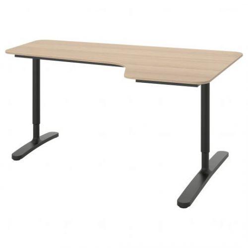 BEKANT БЕКАНТ, Углов письм стол правый, дубовый шпон, беленый/черный, 160x110 см - 792.828.79