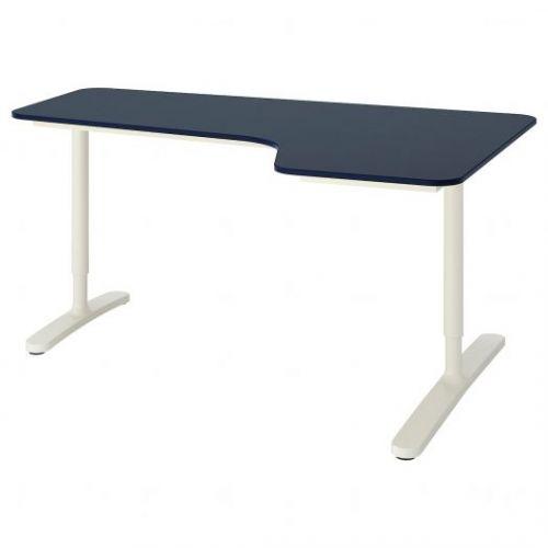 BEKANT БЕКАНТ, Углов письм стол правый, линолеум синий/белый, 160x110 см - 892.828.88