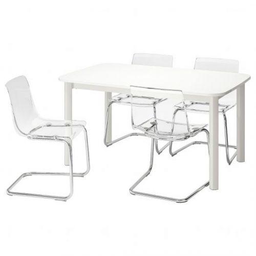 STRANDTORP СТРАНДТОРП / TOBIAS ТОБИАС, Стол и 4 стула, белый/прозрачный, 150/205/260x95 см - 993.886.72