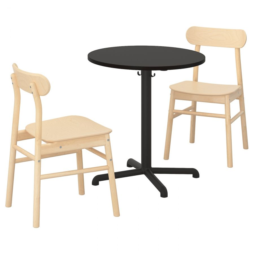 STENSELE СТЕНСЕЛЕ / RONNINGE РЁННИНГЕ, Стол и 2 стула, антрацит/антрацит береза, 70 см - 492.971.27