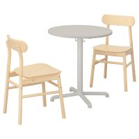 STENSELE СТЕНСЕЛЕ / RONNINGE РЁННИНГЕ, Стол и 2 стула, светло-серый/светло-серый береза, 70 см - 392.971.37