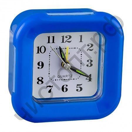 """Часы -будильник настол. Perfeo Quartz """"PF-TC-003"""", квадратные 9,5*9,5 см, подсветка, синие"""