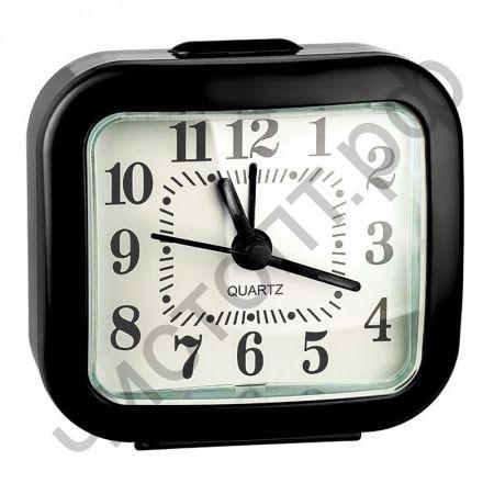"""Часы -будильник настол. Perfeo Quartz """"PF-TC-004"""", прямоугольные 8*7,5 см, чёрные"""