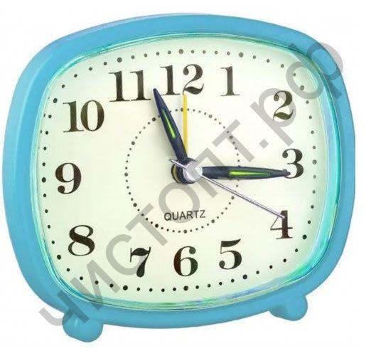 """Часы -будильник настол. Perfeo Quartz """"PF-TC-005"""", прямоугольные 10*8,5 см, синие"""