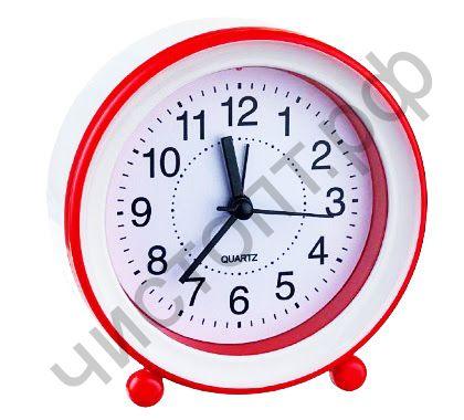 """Часы -будильник настол. Perfeo Quartz """"PF-TC-007"""", круглые диам. 10,5 см, красные"""