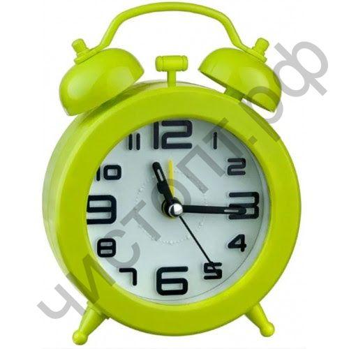 """Часы -будильник настол. Perfeo Quartz """"PF-TC-015"""", круглые диам. 9,5 см, зелёные"""