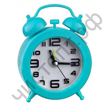 """Часы -будильник настол. Perfeo Quartz """"PF-TC-015"""", круглые диам. 9,5 см, синие"""