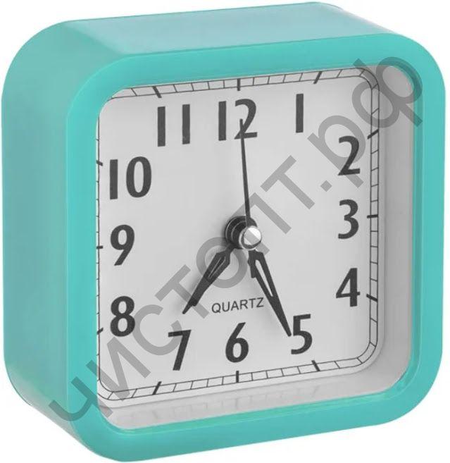 """Часы -будильник настол. Perfeo Quartz """"PF-TC-019"""", квадратные 10*10 см, зелёные"""