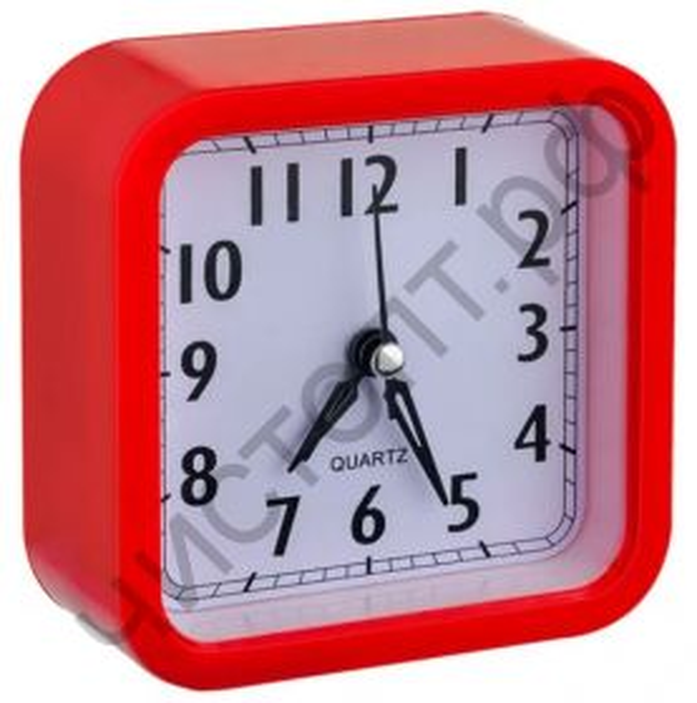 """Часы -будильник настол. Perfeo Quartz """"PF-TC-019"""", квадратные 10*10 см, красные"""