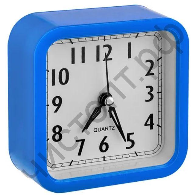 """Часы -будильник настол. Perfeo Quartz """"PF-TC-019"""", квадратные 10*10 см, синие"""