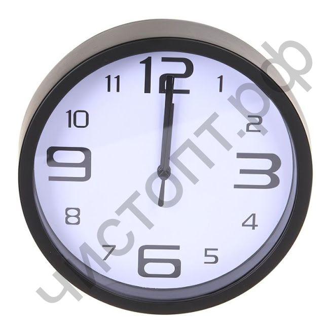 """Часы настенные Perfeo """"PF-WC-001"""", круглые д. 20 см, чёрный корпус / белый циферблат"""