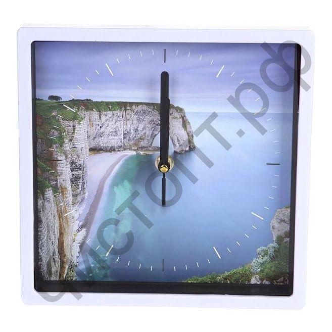 """Часы настенные Perfeo """"PF-WC-005"""", квадратные 22*22 см, белый корпус / морской залив циферблат"""