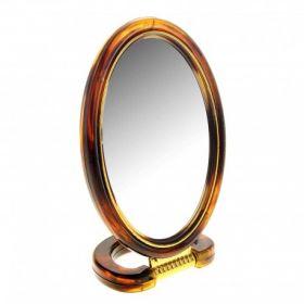 Зеркало овал пласт, коричн. 2-ст.с увелич.,13х18см