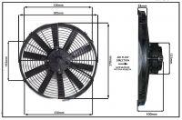 """Осевой вентилятор, 14"""" дюймов, 170 Ватт, 24 Вольт, Всасывающий (PULL) STR126 Вентилятор Для Рефрижераторов"""