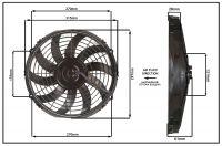 """Осевой вентилятор, 11"""" дюймов, 80 Вт, 12 Вольт, Нагнетающий (PUSH) STR151"""
