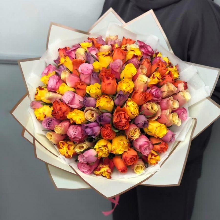 АКЦИЯ! 101 кенийская роза в красивой упаковке