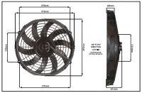 """Осевой вентилятор, 11"""" дюймов, 12 Вольт, 80 ватт,  Всасывающий (PULL) STR149"""