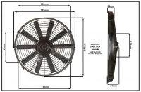 """Осевой вентилятор, 14"""" дюймов, 12 Вольт, 80 ватт,  Всасывающий (PULL) STR157"""