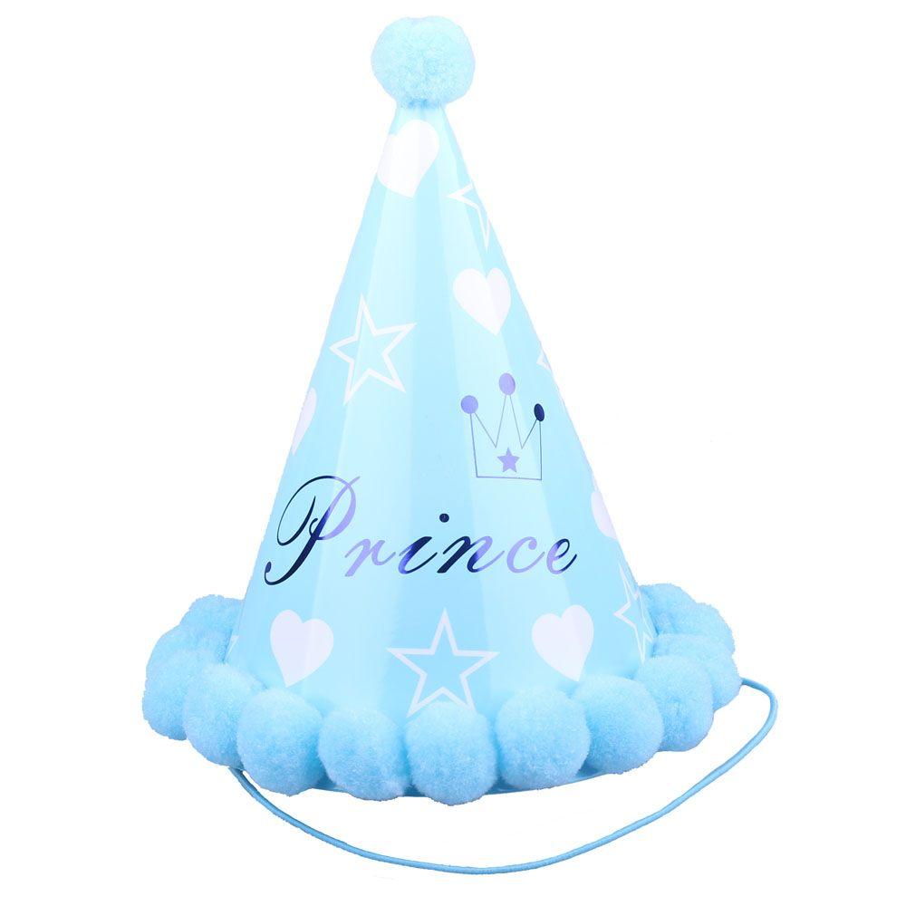 Колпачок с помпонами Принц голубой