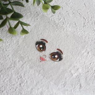 Термонаклейка для декорирования лица куклы с карими глазами