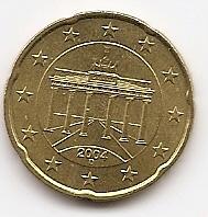 20 евроцентов Германия 2004 регулярная Двор D из обращения