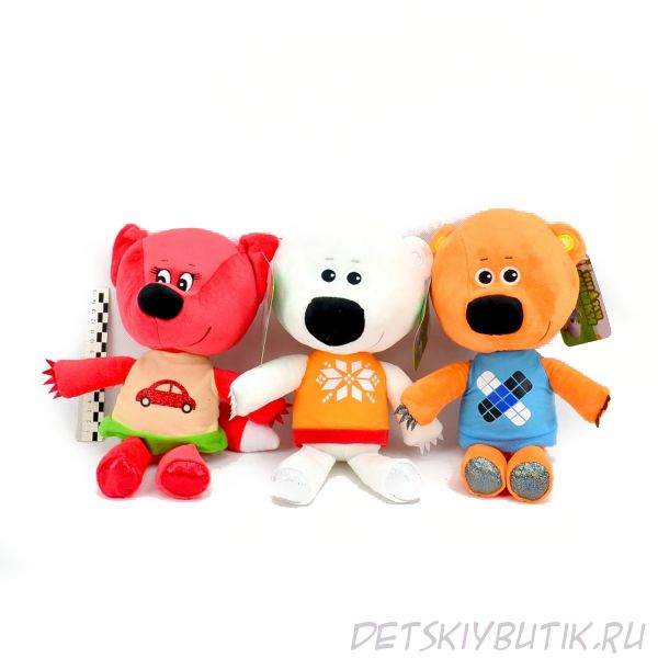 Мягкие игрушки без чипа из серии «Ми-ми-мишки» -  Медвежонок Кеша, Медвежонок Белая Тучка, Лисичка