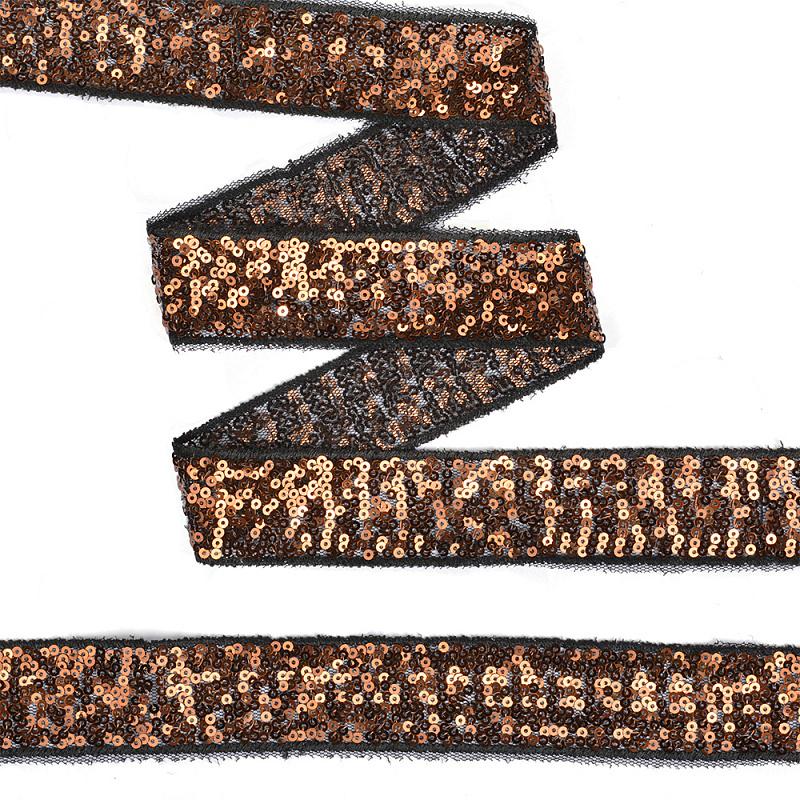 Тесьма с пайетками  на сетке ширина 30 мм. цвет черный (TDF030)