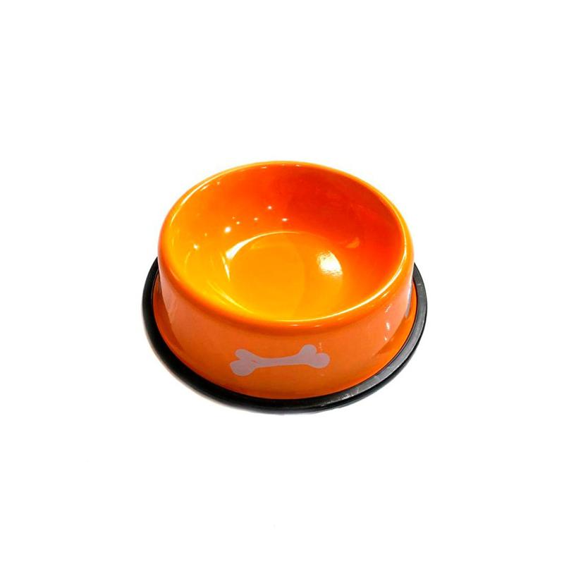 Металлическая миска с прорезиненным основанием Косточки, Оранжевая