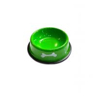 Металлическая миска с прорезиненным основанием Косточки, Зеленая