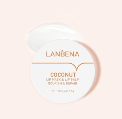 Маска-бальзам для губ LANBENA с экстрактом кокоса и натуральными маслами.(6153)