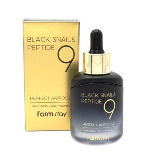 172292 FarmStay Омолаживающая ампульная сыворотка с комплексом из 9 пептидов Black Snail & Peptide9 Perfect Ampoule