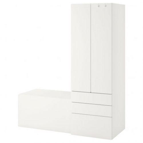 SMASTAD СМОСТАД, Комбинация д/хранения, белый белый/со скамьей, 150x57x181 см - 993.959.22