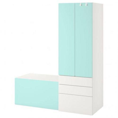 SMASTAD СМОСТАД, Комбинация д/хранения, белый бледно-бирюзовый/со скамьей, 150x57x181 см - 793.959.23