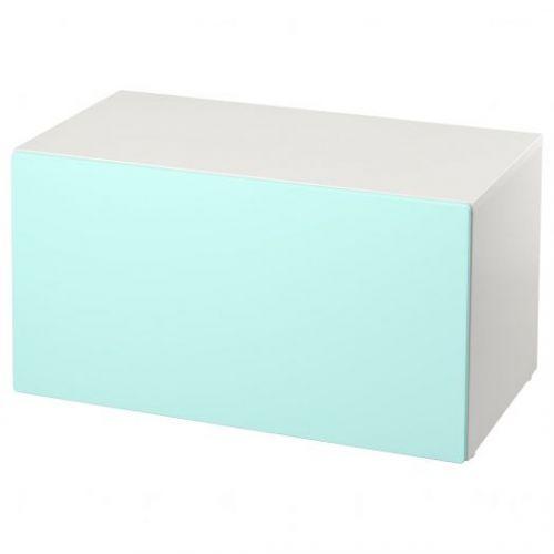 SMASTAD СМОСТАД, Скамья с отделением для игрушек, белый/бледно-бирюзовый, 90x52x48 см - 693.957.11